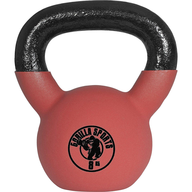 gorilla sports kettlebell red rubber 8kg oferta ocasion