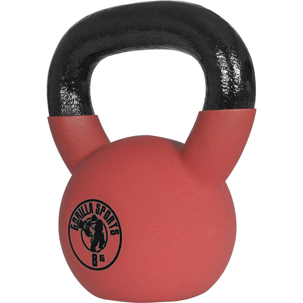 gorilla sports kettlebell red rubber lateral 8kg economica mejor
