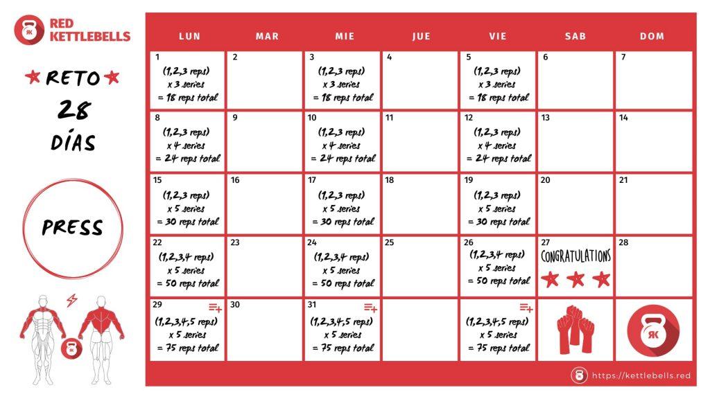 reto 28 días kettlebell press