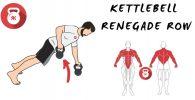 kettlebells pesas rusas ejercicio remo renegado renegade rows